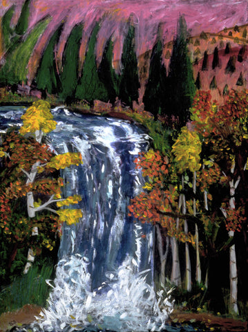 Fall by Yvonne Callaway Smith. A waterfall surrounded by trees and a purple sky.
