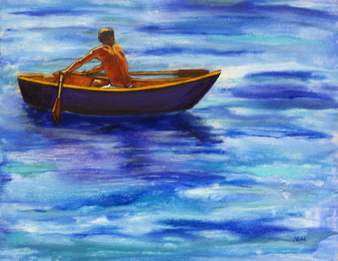 Almost There by Nancy Ruhl. Image of blue water with person it row boat.