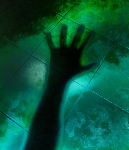 Awaken by Pawel Wegrzyn. Digitally adjusted photograph of a black shadow of a hand over green tiles.