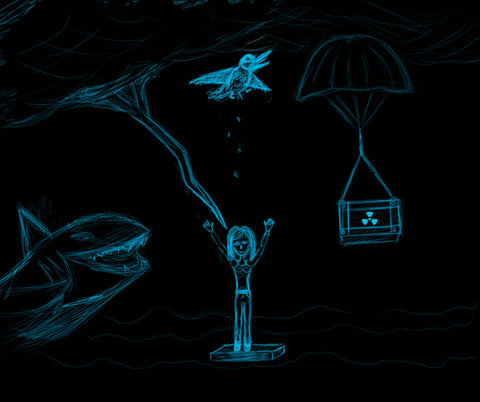 Bad Day by Pawel Wegrzyn. Sketch in blue ink on black background of woman standing in water about to be attacked by a shark, struck by light, pooped on by a bird and blown up.