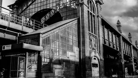 Berlin Rail Station by Barry Khan. Black and white photograph of the facade of the station.
