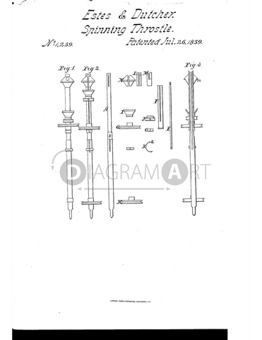 USPTO Patent_0001259 , Free Sketch - Diagramart Author, DiagramArt