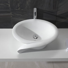 CW-117 Round Countertop Vessel Sink in White Finish Shown Installed with Separate Faucet