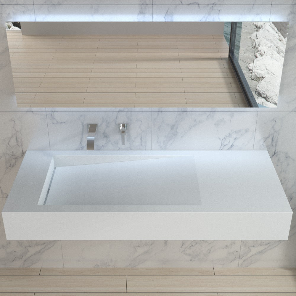DW-111 Rectangular Wall Mounted Sink Shown Installed with separate wall mirror
