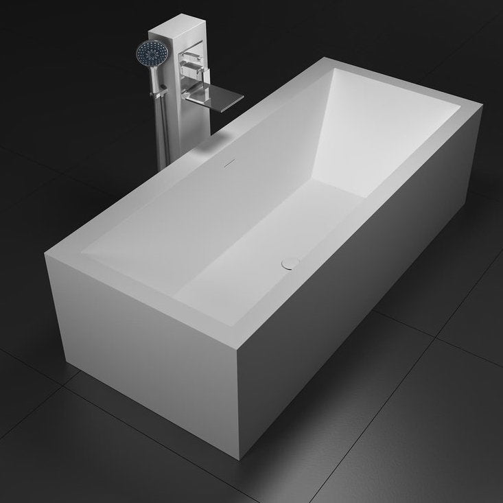 SW-173 Rectangular Freestanding Bathtub in White Finish Shown Installed with Separate Tub Filler