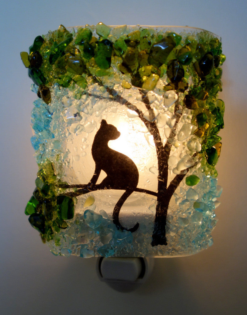 Cat In a Tree Reborn Glass Night Light - RebornGlass.com