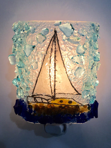 Sailboat Reborn Glass Night Light