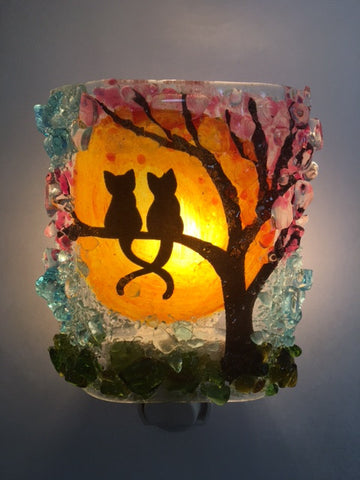Kitties in a Spring Cherry Blossom Tree Recycled Glass Night Light