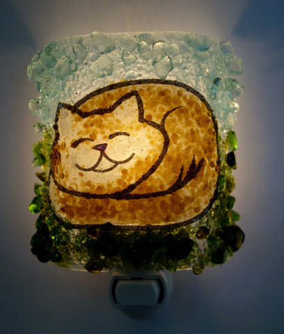 Cat Nap Night Light Brown Kitty Recycled Glass Night Light