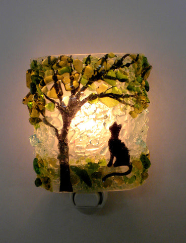 Summertime Kitty Recycled Bottle Glass Night Light