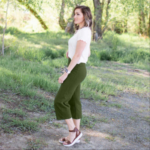 Olive Fold Over Yoga Capri Pants