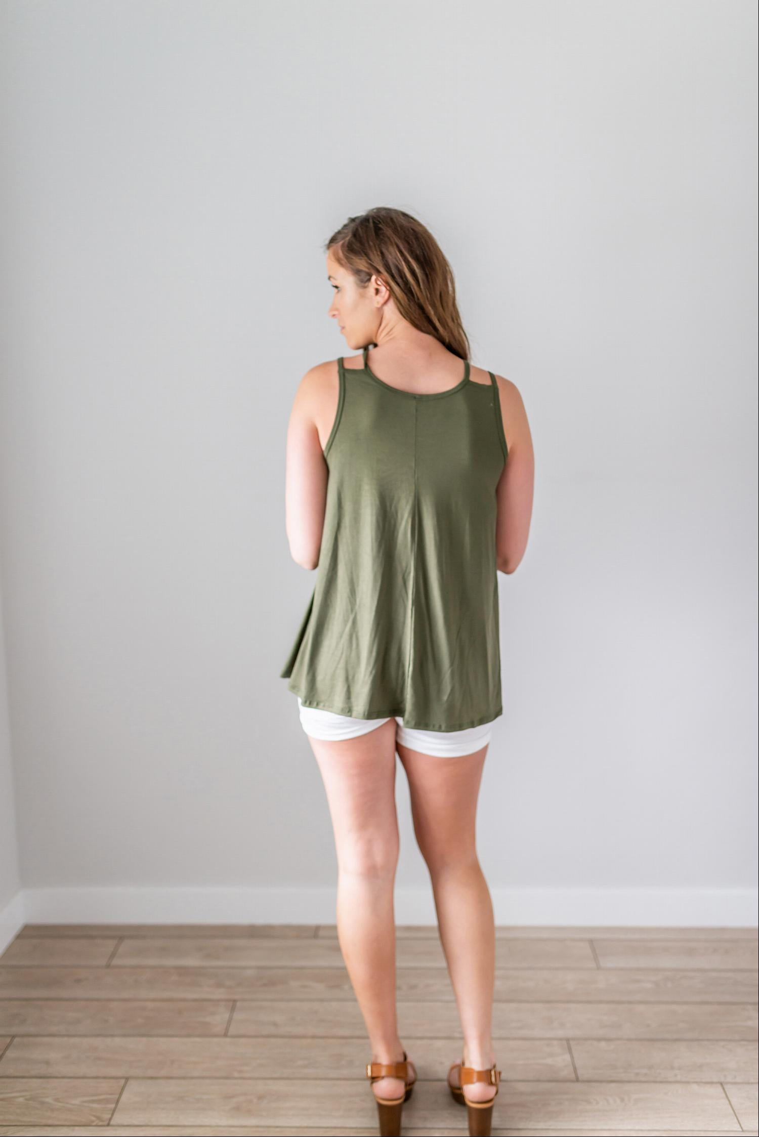 Olive Flared Top With Strap Detail