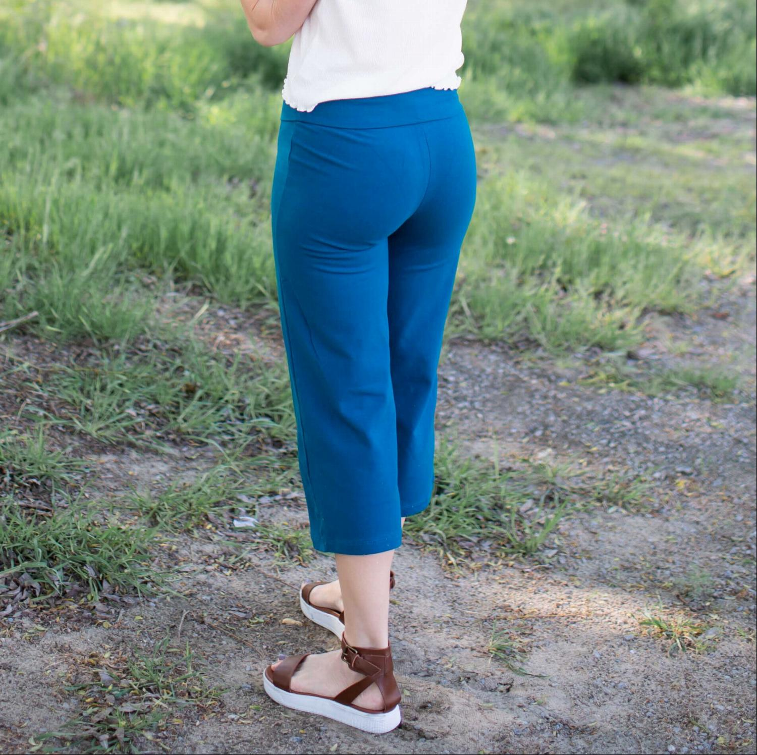 Teal Fold Over Yoga Capri Pants