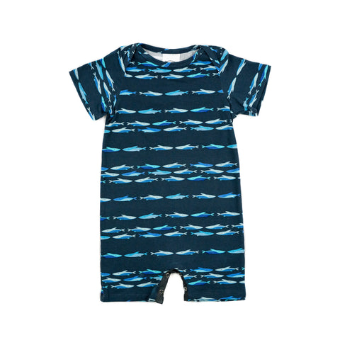 woody baby knit romper // deep sea