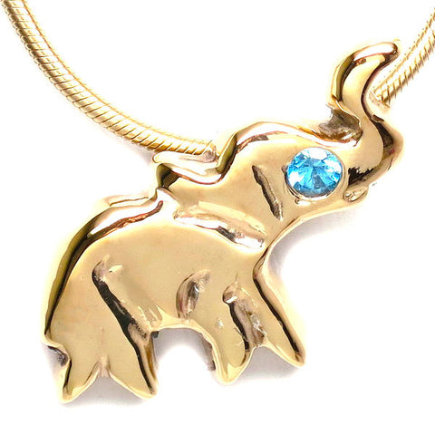 18K Gold Plated Brass Blue Topaz Elephant Necklace