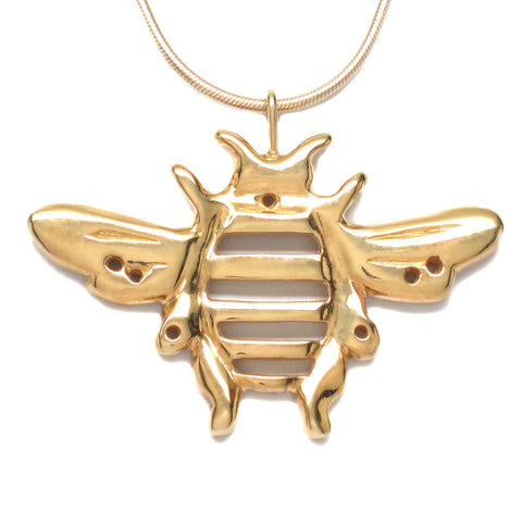 18K Gold Plated Bronze Bumblebee Pendant Necklace