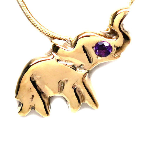 18K Gold Plated Brass Amethyst Elephant Necklace
