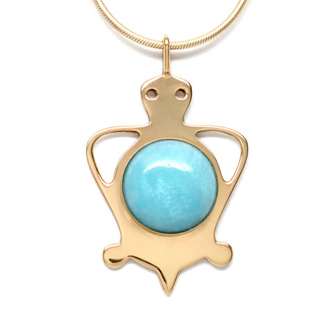 18K Gold Plated Brass Amazonite Tortoise Necklace