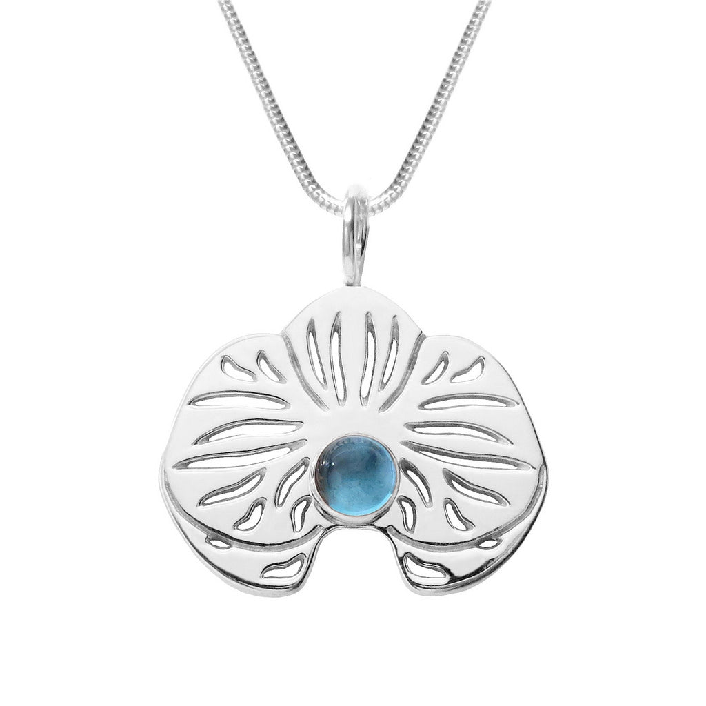 Sterling Silver Blue Topaz Orchid Pendant Necklace - Michele Benjamin - Jewelry Design