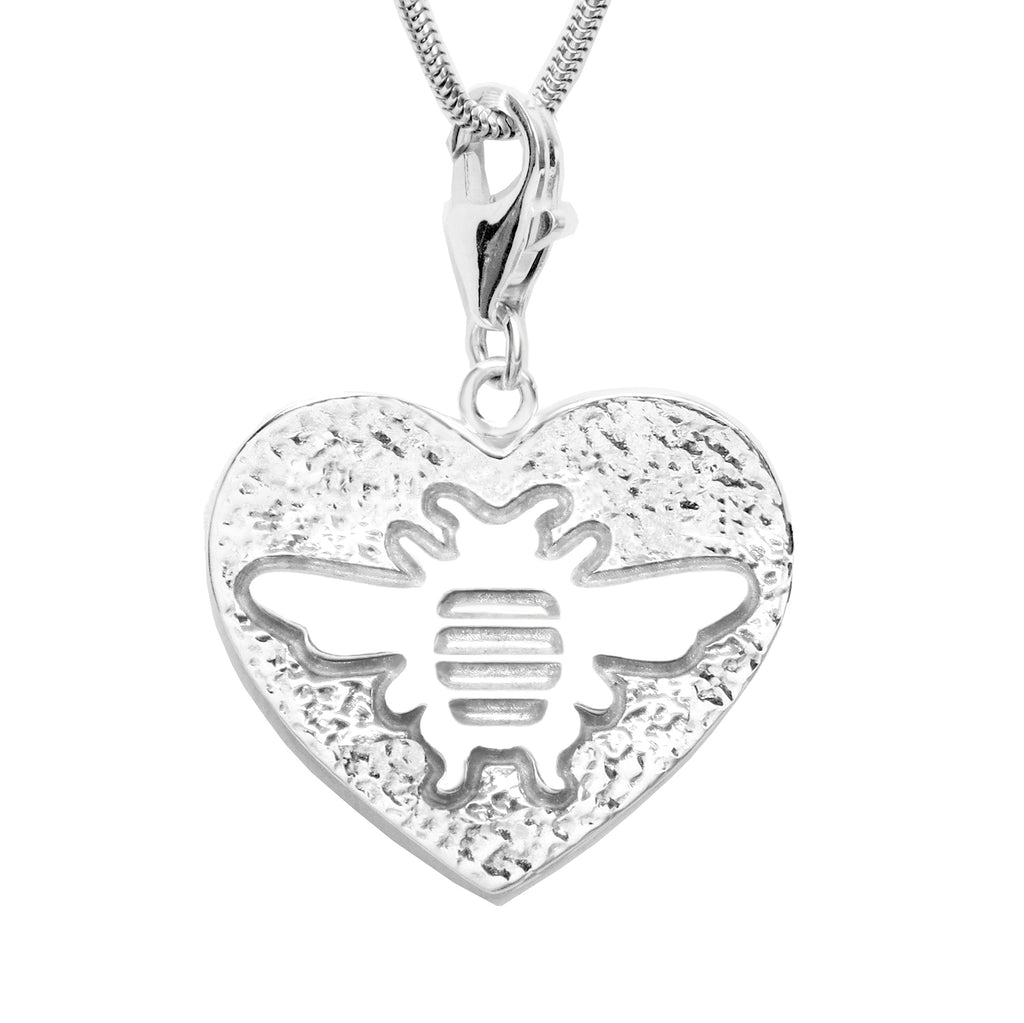 Sterling Silver Bee Heart Charm Necklace - Michele Benjamin - Jewelry Design