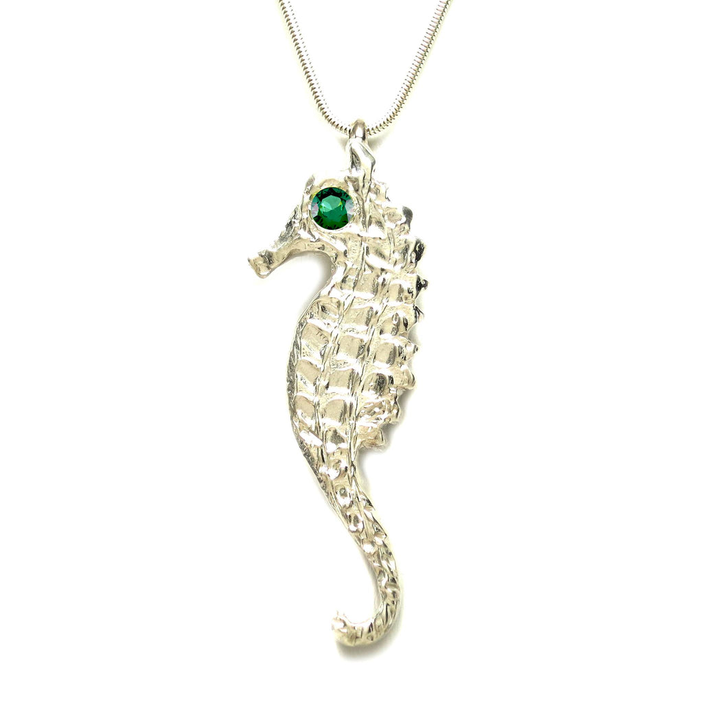 Sterling Silver Emerald Seahorse Pendant Necklace - Michele Benjamin - Jewelry Design