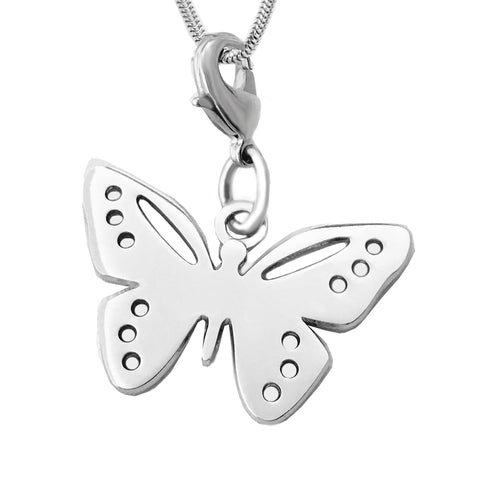 White Brass Butterfly Charm Necklace