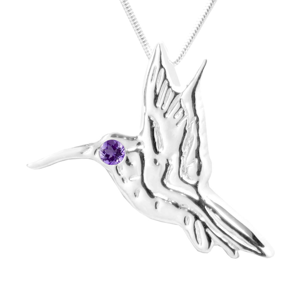 Sterling Silver Amethyst Hummingbird Pendant Necklace 18L - Michele Benjamin - Jewelry Design