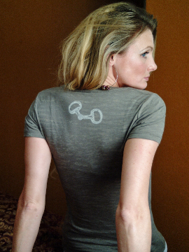 Dressage Horse Head T-Shirt back view of Snaffle Bit Detail by Equestrianista Collection.