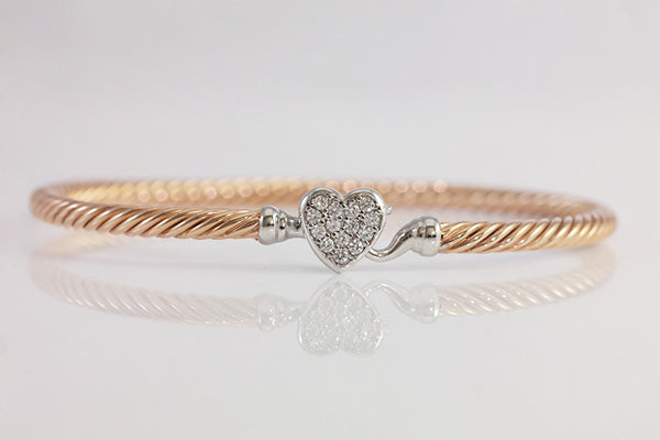 Sterling Silver Heart Cable Bangle, Rose - SDG by Grace