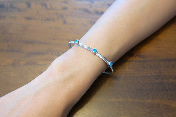 Sterling Silver Three Station Cable Bangle - SDG by Grace