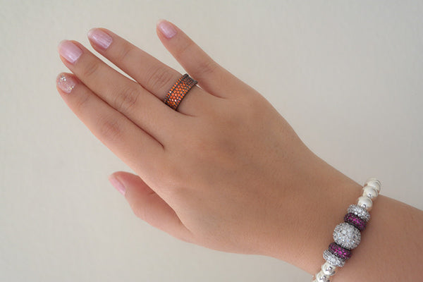 Sterling Silver Colorful Pave Ring, Orange - SDG by Grace