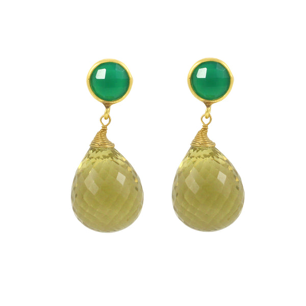 Agave Short Earring in Grass Green & Lemon Ice