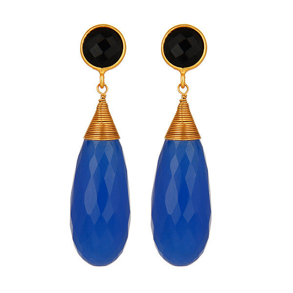 Agave Long Earring in Jet & Liberty Blue