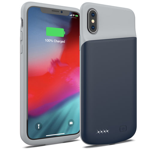 Battery Case for iPhone X/XS, 4000mAh Portable Protective Charging Case Extended Rechargeable Battery Pack Charger Case Compatible with iPhone X/XS / 10 (5.8 inch) (Blue)