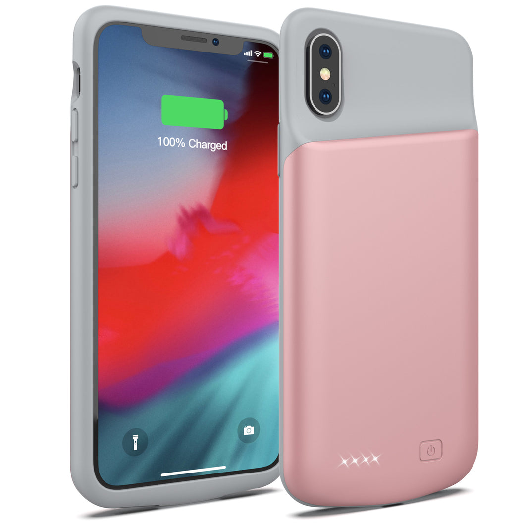 Battery Case for iPhone X/XS, 4000mAh Portable Protective Charging Case Extended Rechargeable Battery Pack Charger Case Compatible with iPhone X/XS / 10 (5.8 inch) (Rose Gold)