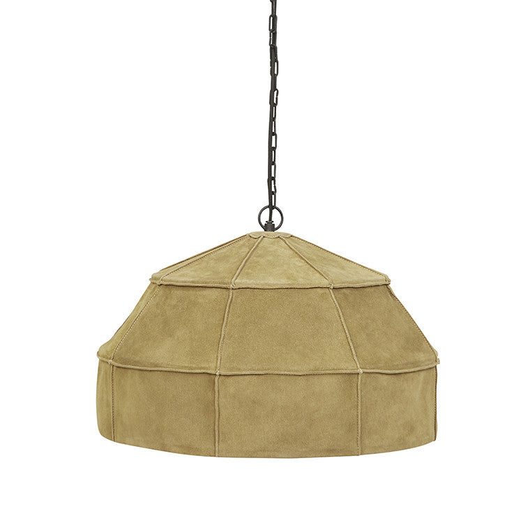 Balthazar Suede Large Pendant in Olive Yellow