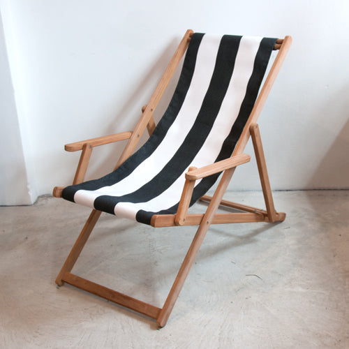 Deckchair with Arms (Teak) - Sunbrella Block Stripe Sling