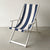 Deckchair with Arms (White) - Sunbrella Block Stripe Sling