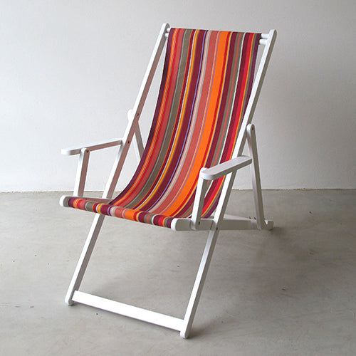 Deckchair with Arms (White) - Cotton Sling