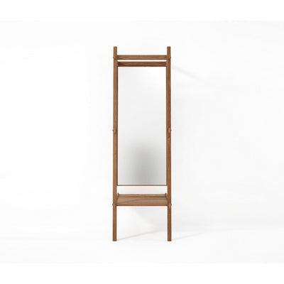 Simply City Standing Mirror and Shelf in Oak