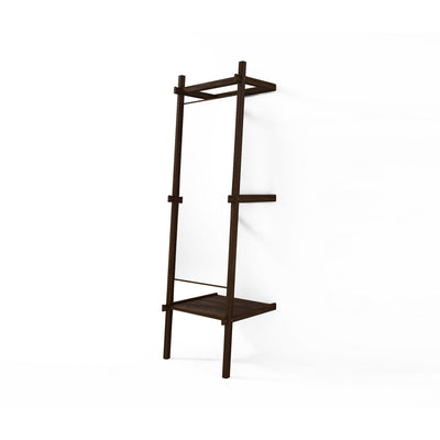 Simply City Standing Mirror and Shelf in Walnut