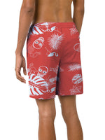 Orange shorts with overprint of palm leafes and skulls