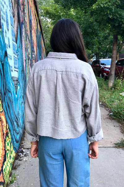 Reworked Vintage Cropped Grey Button Down