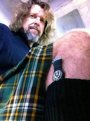 Rick Baldwin in Irish tartan kilt