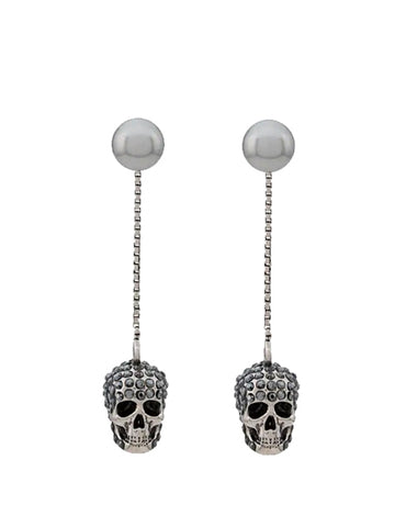 Pearl and Pave Skull Stud Earrings, Silver