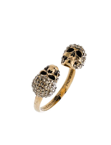 Crystal Twin Skull Ring, Gold