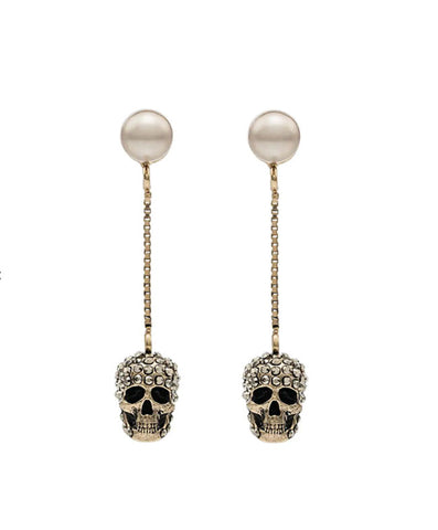 Pearl and Pave Skull Stud Earrings, Gold
