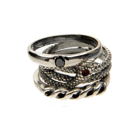 Serpent 3 Ring Set, Silver
