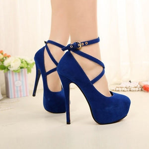 Womens Pumps Spaghetti Heels High Heels OL Style Formal Ankle Strap Platform Shoes Large Size