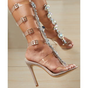 35-42 Big Size 10 Women Sandals PVC Transparent Shoes High Heeled Shoe Summer Boots Diamond Buckle Gladiator Sandal Heels Weddin